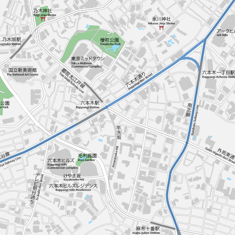 東京 六本木 ベクター地図データ(eps) 日本語/英語 並記版