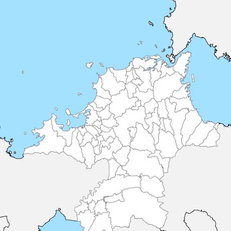 福岡県 市区町村別 白地図 PDFデータ
