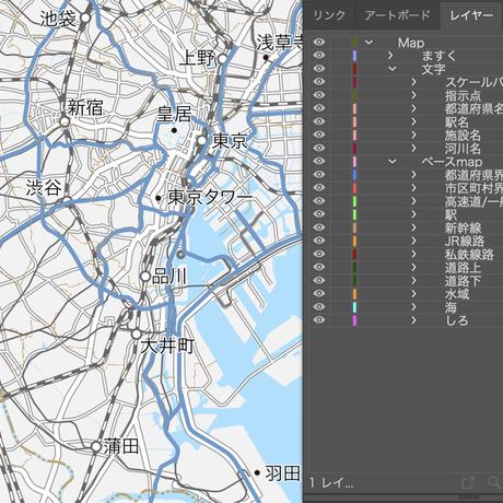 東京都 道路地図 ベクター素材(eps)日本語