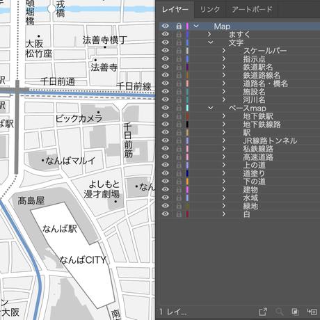 大阪 なんば・心斎橋 ベクター地図データ(eps) 日本語