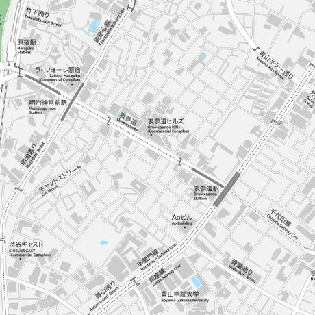 東京 原宿・表参道・青山 ベクター地図データ(eps) 日本語/英語 並記版