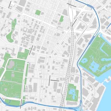 東京 新橋・浜松町 ベクター地図データ(eps) 日本語