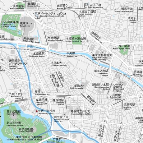 東京 千代田区北 ベクター地図データ(eps) 日本語/英語 並記版