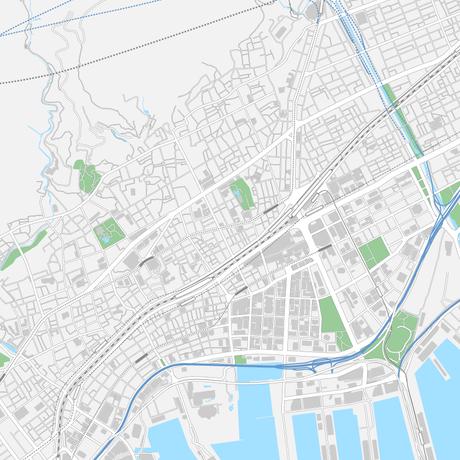 兵庫 神戸 ベクター地図データ(eps) 日本語/英語 並記版