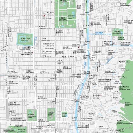 京都  中心部 ベクター地図データ(eps) 日本語/英語 並記版