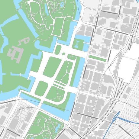 東京 丸の内・皇居 ベクター地図データ(eps)  中国語(繁体字) / 英語 並記版