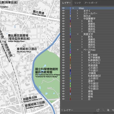 東京 恵比寿・代官山・中目黒 ベクター地図データ(eps) 繁体語/英語 並記版