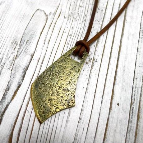 ナイフモチーフの真鍮プレートネックレス!本革レザー紐!②