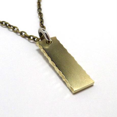 真鍮製側面削り出しネックレス★裏面刻印無料★チェーン付き