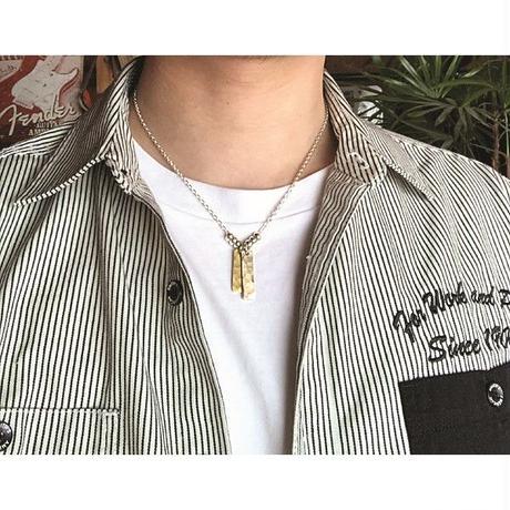 シルバーと真鍮のプレートネックレス刻印も可能です