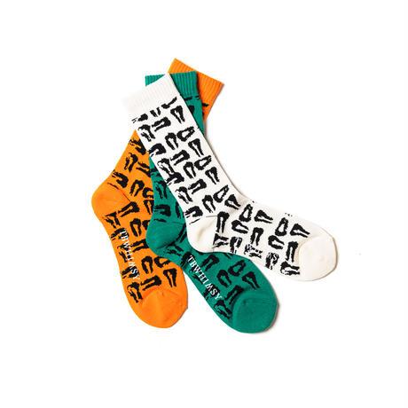 TIGHTBOOTH / TBPR / MAD COW FOOTPRINT SOCKS -White- / 靴下