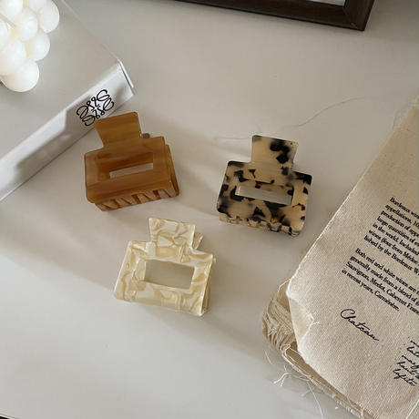 marble square hair clip