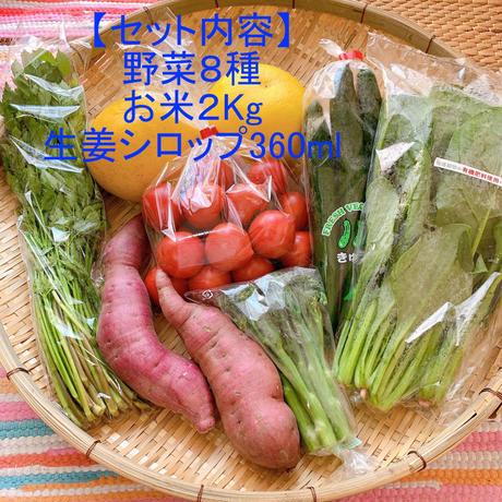 自宅で楽しむイナカデリコの応援野菜8品とお米と生姜シロップセット(ボリュームセット+高知県産お米2Kg+生姜シロップ360ml)