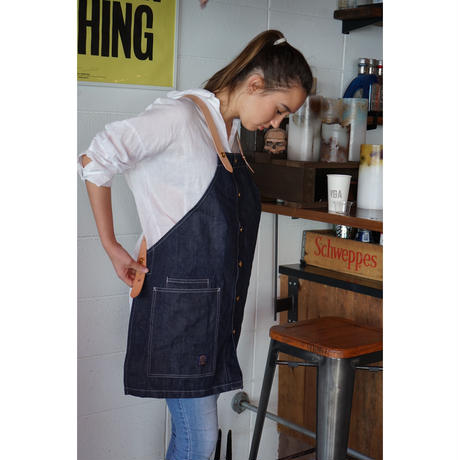 14oz Denim Skule Apron Leather suspender Msize