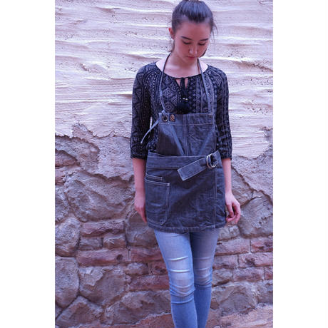 "14oz Zimbabwe Denim ""Posies"" 2way Short Apron"