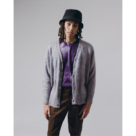 MOHAIR DYED CARDIGAN - PURPLE ASH DYED