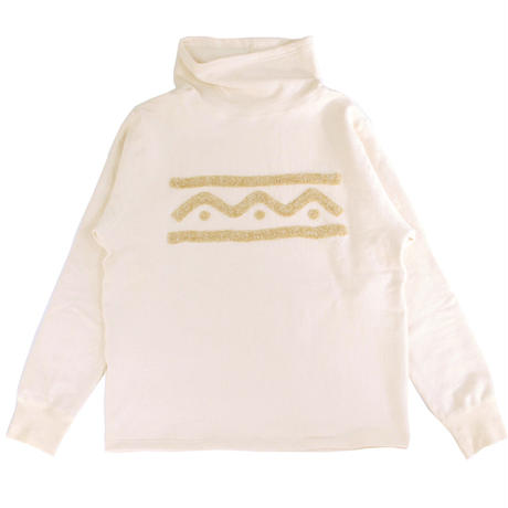 S※HANDLE EMBROIDERY HIGH NECK SWEAT -NATURAL B- R7AJ007
