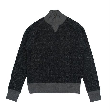 ※LOOPWHEEL TURTLE NECK SWEAT -MIX BLACK- R185-0305