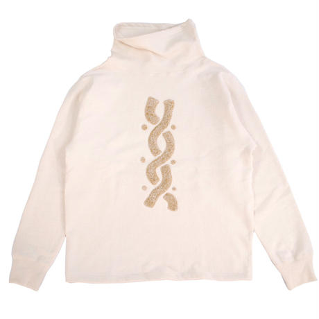 S※HANDLE EMBROIDERY HIGH NECK SWEAT -NATURAL A- R7AJ007