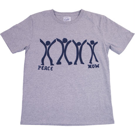 PEACE NOW HAND FLOCKY TEE -MIX GRAY-