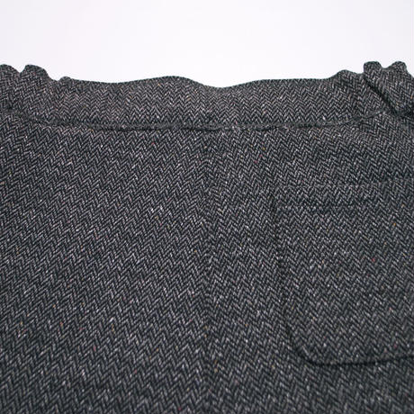 TWEED NEP FLEECE WIDE PANTS -CHARCOAL-