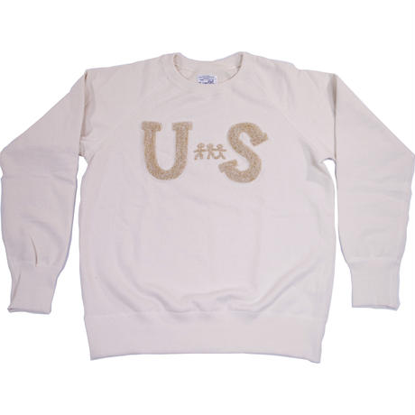 S※HANDLE EMBROIDERY RAGLAN CREW -NATURAL-