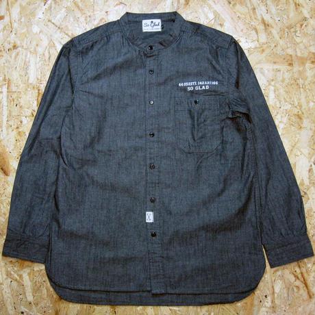 So Glad Band Collar Chambray Shirt Black