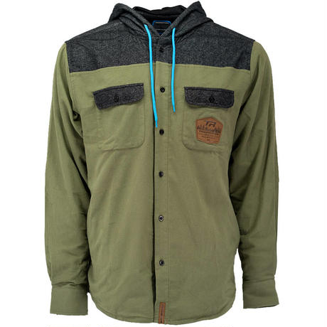 Hooded Huckit Flannel Olive Green