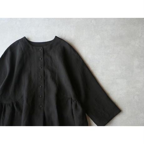 <完売しました>キャンバスリネン・サイドギャザー・ジャケット/ブラック