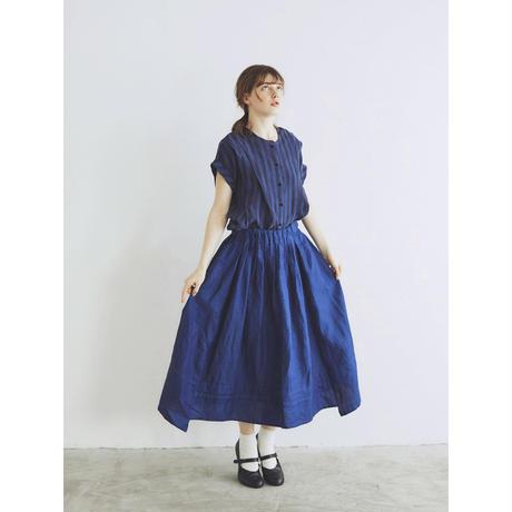 <完売しました>インディゴリネン・ロングギャザースカート/ネイビーブルー