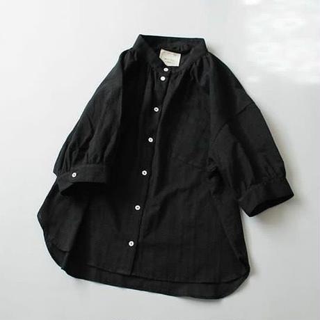 ドビーチェック・シャツ/ブラック