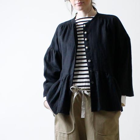 リネンギャザー・ジャケット/ブラック