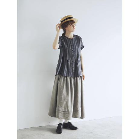 <完売しました>キャンバスリネン・ロングギャザースカート/アッシュグレー
