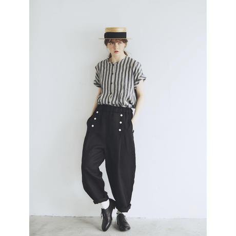 <完売しました>ツイルリネン・マリンパンツ/ブラック