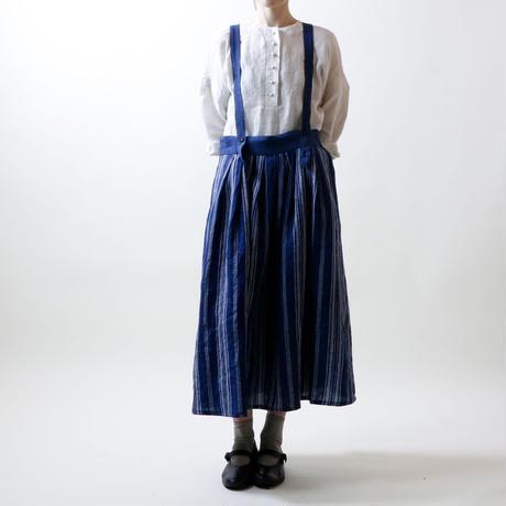 フレンチストライプリネン・サスペンダースカート/ネイビー
