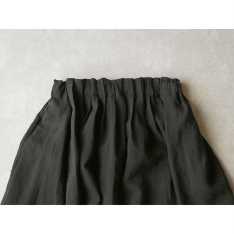 <完売しました>キャンバスリネン・ロングギャザースカート/ブラック