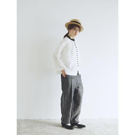<再販>ウォッシュドリネン・アンティーク・ブラウス/ホワイト