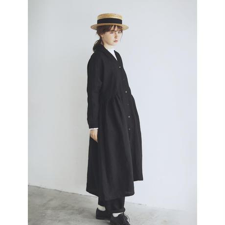 <完売しました>ベルガモリネン・ローブコート/ブラック