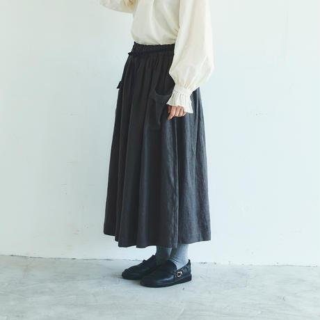 <完売しました>ブラッシュド・ベルギーリネン ロングスカート/チャコール
