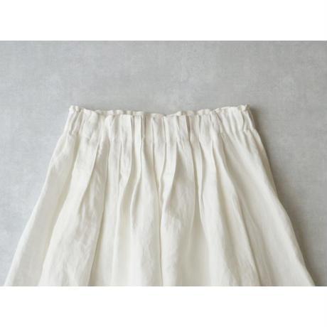 <完売しました>キャンバスリネン・ロングギャザースカート/ホワイト