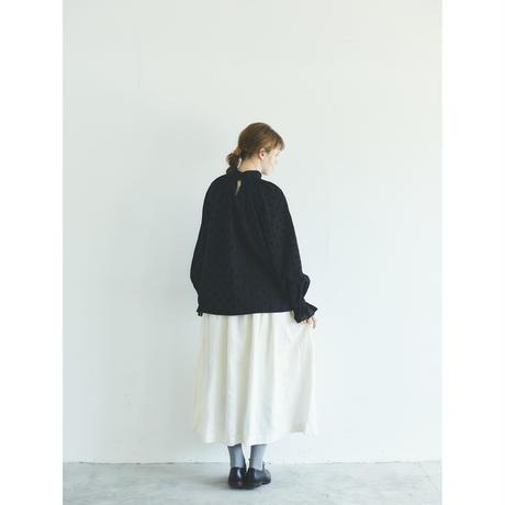 アンティークドット・フリルスリーブ・プルオーバー/ブラック