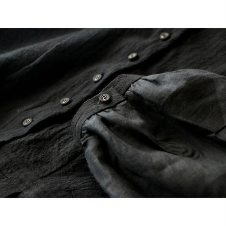 <完売しました>ストライプコットン&リネン・プリーツブラウス/ブラック