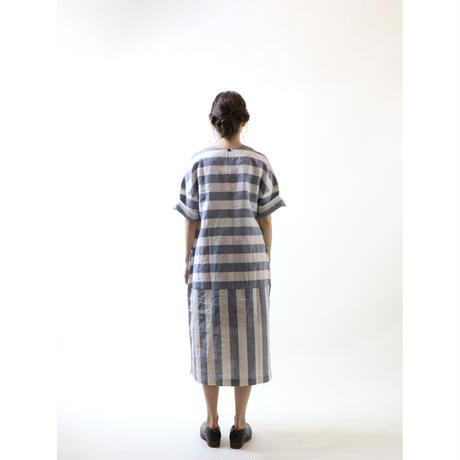 琴平炊きボーダーリネン・ワンピース/アイボリーXブルー