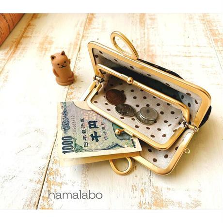 8月20日販売開始!【HA-1890】親子口金12cm(新リボン×ソフトブラック)