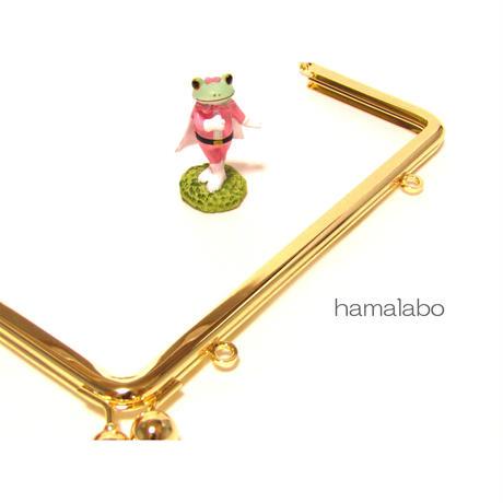 売切り価格!【HA-1328】<横ひねり>18cm/角型の口金(アメ玉×ゴールド)・カン付き