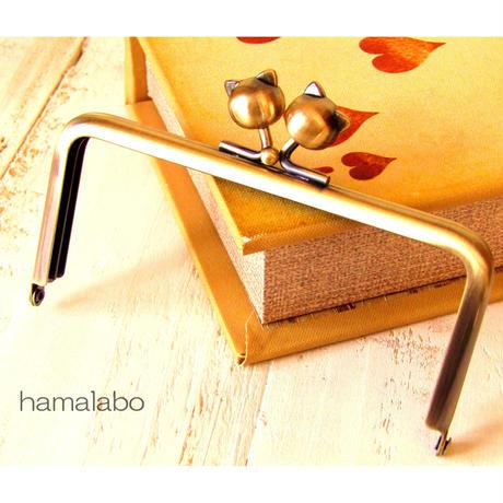 【HA-485】12cm/角型(ネコ玉×アンティークゴールド)