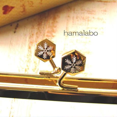 正月限定品!1月4日販売開始!【HA-1772】18cm角型の口金(六花-雪の結晶×ゴールド)
