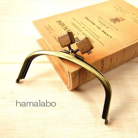 7月19日販売開始!【HA-1878】12.5cmくし型(足長)/(茶色の木キューブ×アンティークゴールド)