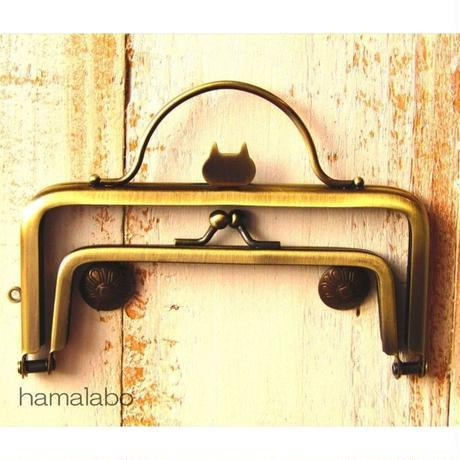 9月11日販売開始!【HA-1623】ネコ型タイプ!親子口金 12cm(押し口金×アンティークゴールド)