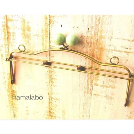 【HA-1490】28cmベンリー口金/(ヒスイ玉×アンティークゴールド)・カン付き